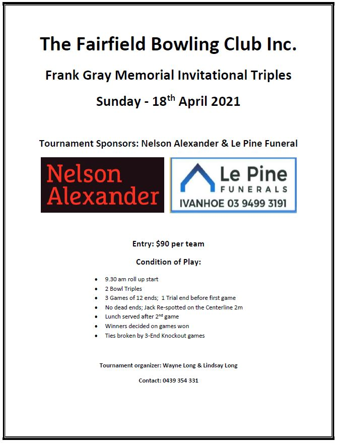 Frank Gray Memorial Invitation Triples – Sun 18 April 2021